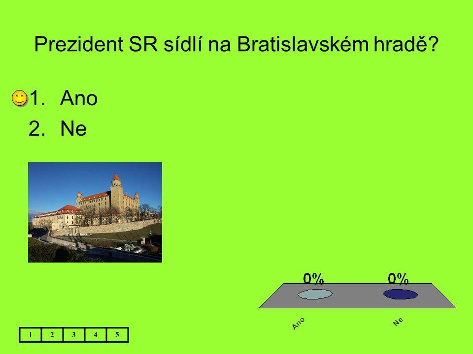 Prezident SR sídlí na Bratislavském hradě? 12345 1.Ano 2.Ne