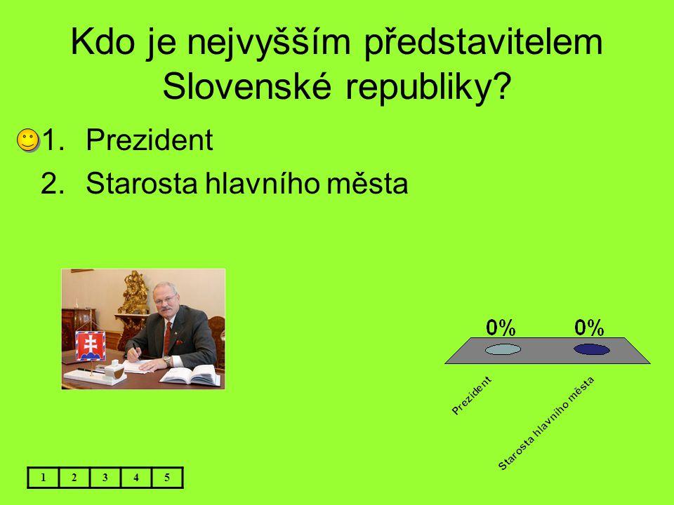 Kdo je nejvyšším představitelem Slovenské republiky? 1.Prezident 2.Starosta hlavního města 12345