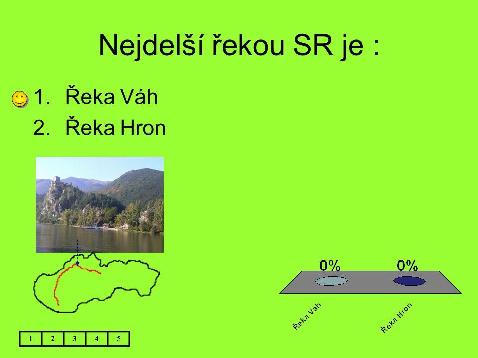 Nejdelší řekou SR je : 12345 1.Řeka Váh 2.Řeka Hron
