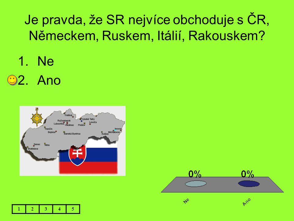 Je pravda, že SR nejvíce obchoduje s ČR, Německem, Ruskem, Itálií, Rakouskem? 12345 1.Ne 2.Ano