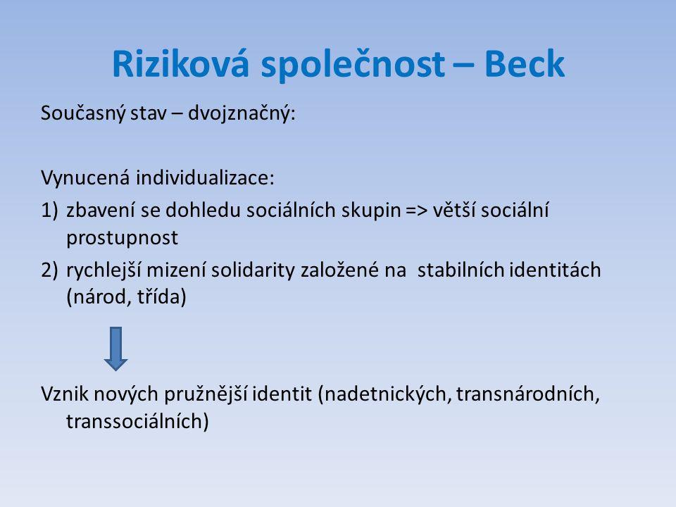 Riziková společnost – Beck Současný stav – dvojznačný: Vynucená individualizace: 1)zbavení se dohledu sociálních skupin => větší sociální prostupnost