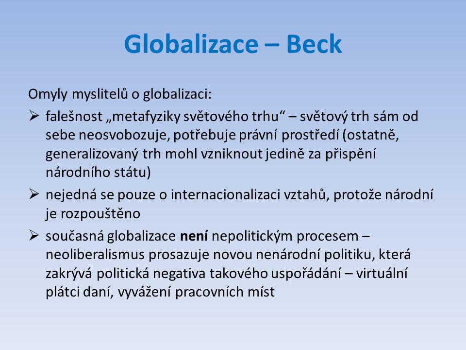 """Globalizace – Beck Omyly myslitelů o globalizaci:  falešnost """"metafyziky světového trhu"""" – světový trh sám od sebe neosvobozuje, potřebuje právní pro"""