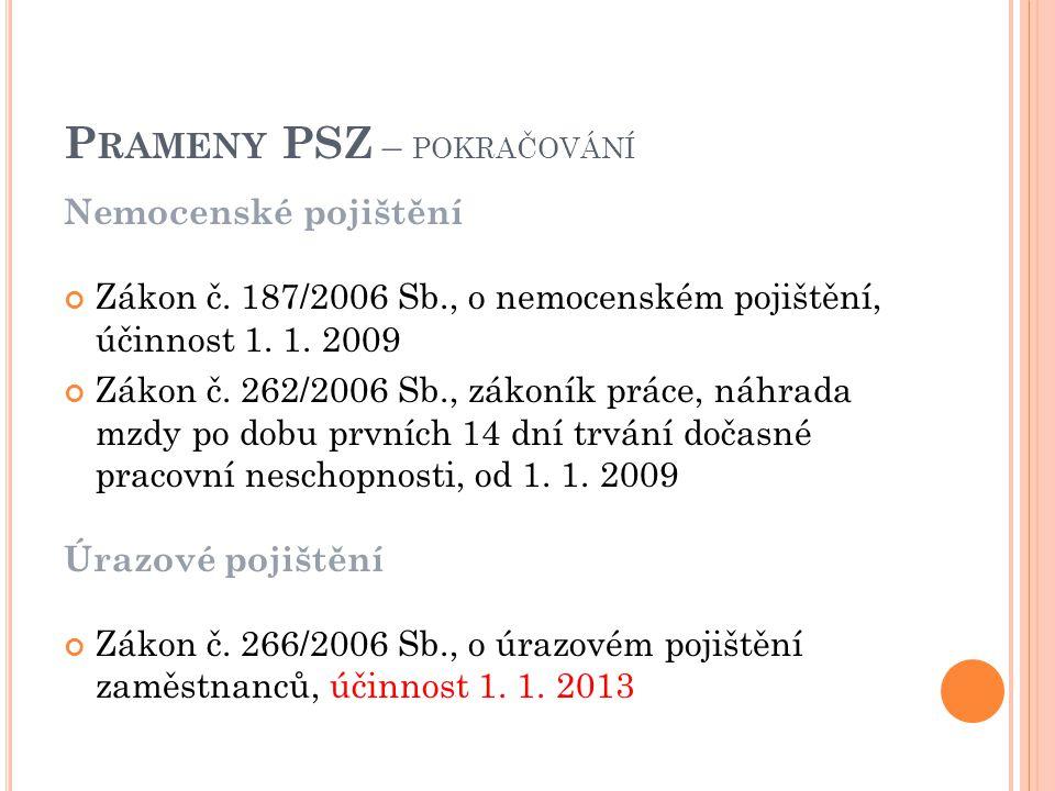 Nemocenské pojištění Zákon č. 187/2006 Sb., o nemocenském pojištění, účinnost 1.