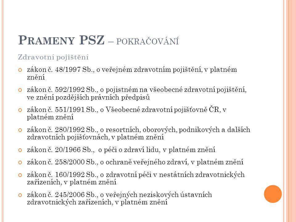 Zdravotní pojištění zákon č. 48/1997 Sb., o veřejném zdravotním pojištění, v platném znění zákon č.