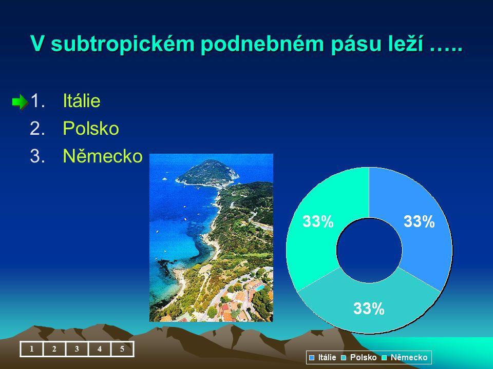 V subtropickém podnebném pásu leží ….. 1.Itálie 2.Polsko 3.Německo 12345