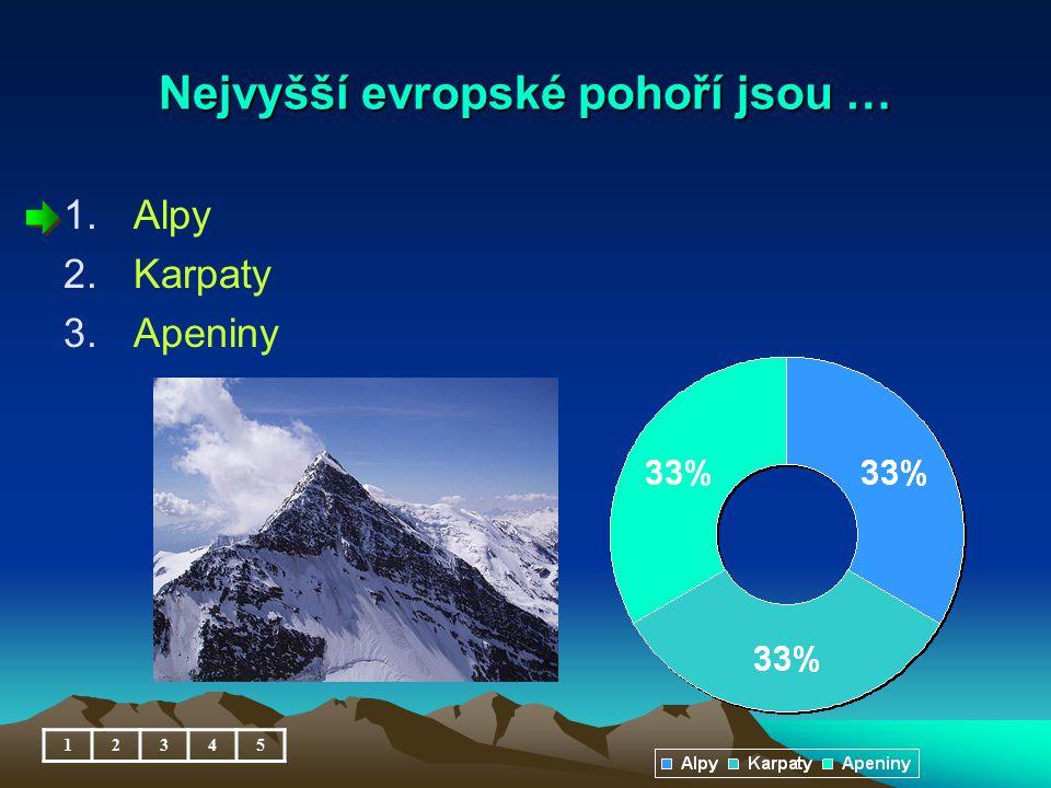 Nejvyšší evropské pohoří jsou … 1.Alpy 2.Karpaty 3.Apeniny 12345