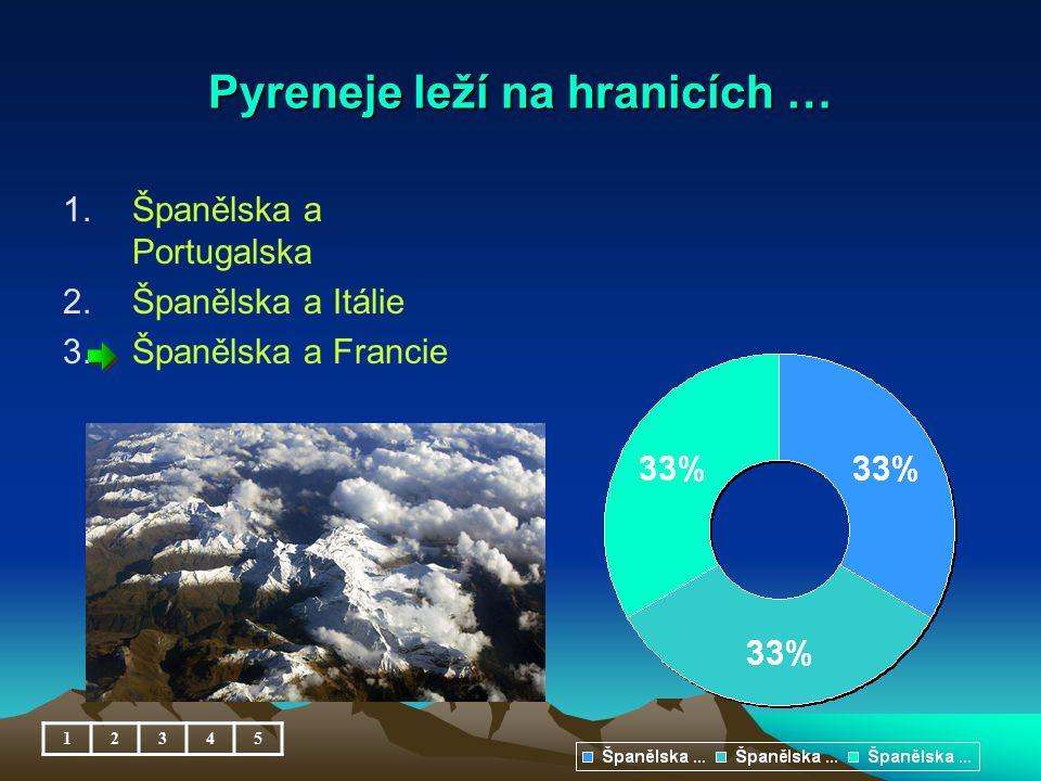Pyreneje leží na hranicích … 1.Španělska a Portugalska 2.Španělska a Itálie 3.Španělska a Francie 12345