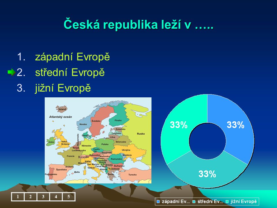 Česká republika leží v ….. 12345 1.západní Evropě 2.střední Evropě 3.jižní Evropě