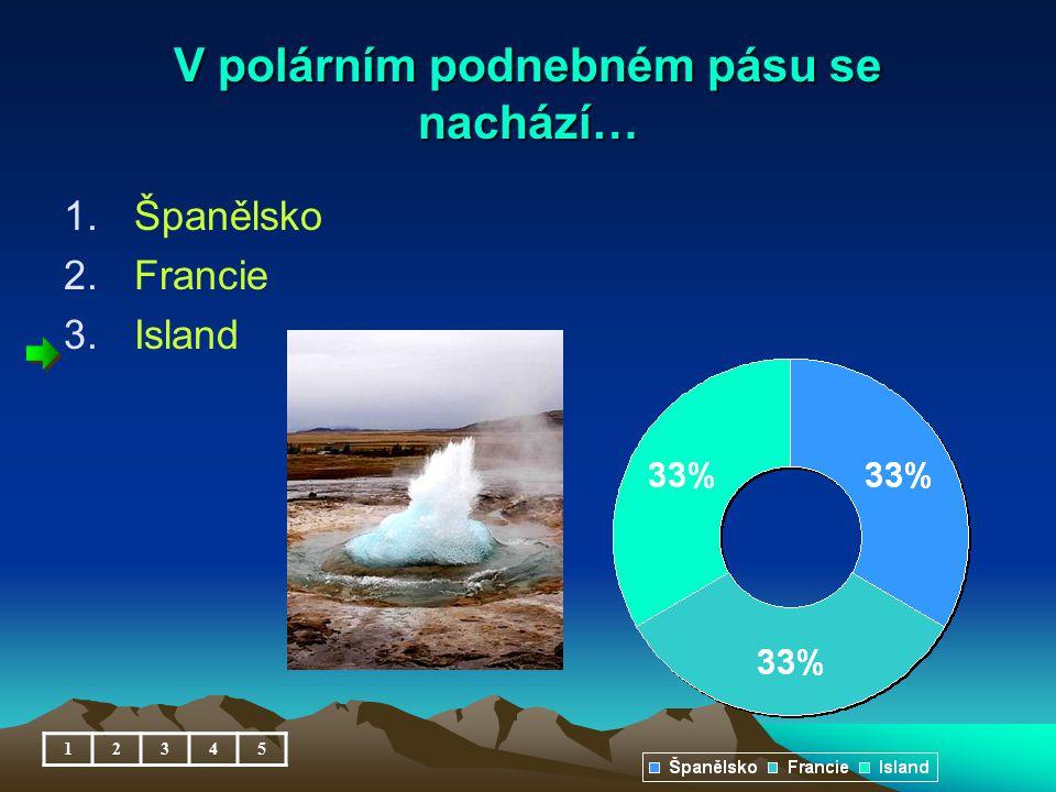 V polárním podnebném pásu se nachází… 1.Španělsko 2.Francie 3.Island 12345