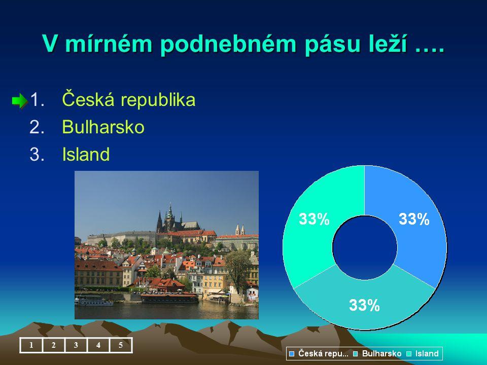 V mírném podnebném pásu leží …. 1.Česká republika 2.Bulharsko 3.Island 12345