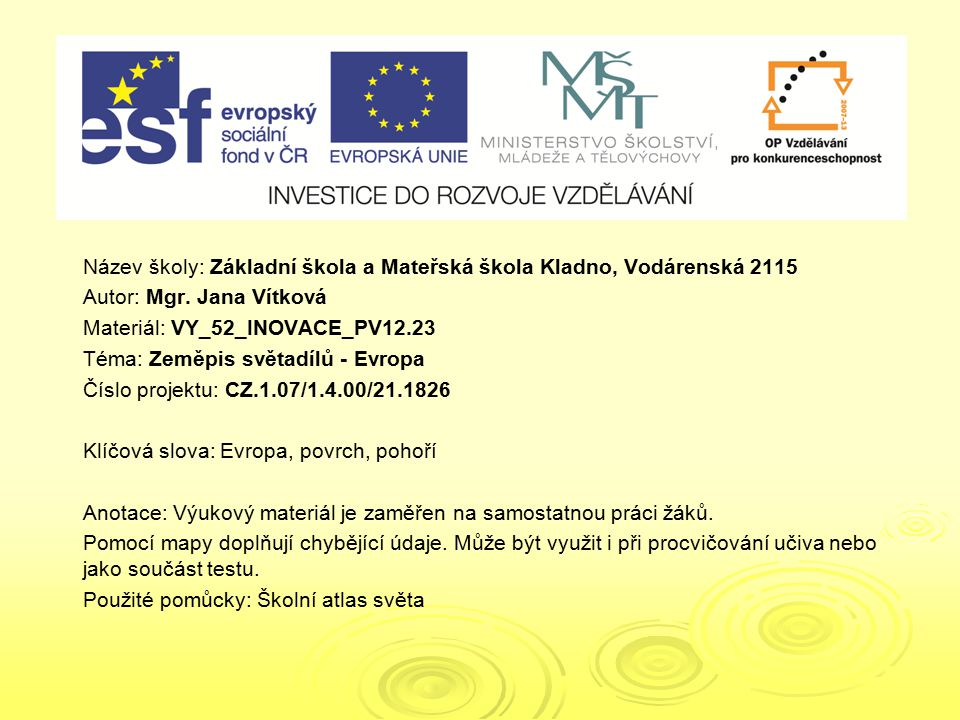 VY_52_INOVACE_PV12.23 VY_52_INOVACE_PV12.23