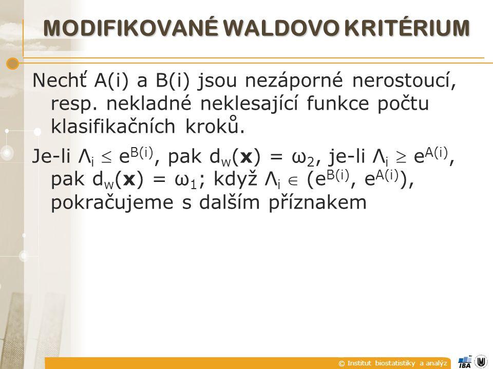 © Institut biostatistiky a analýz MODIFIKOVANÉ WALDOVO KRITÉRIUM Nechť A(i) a B(i) jsou nezáporné nerostoucí, resp.