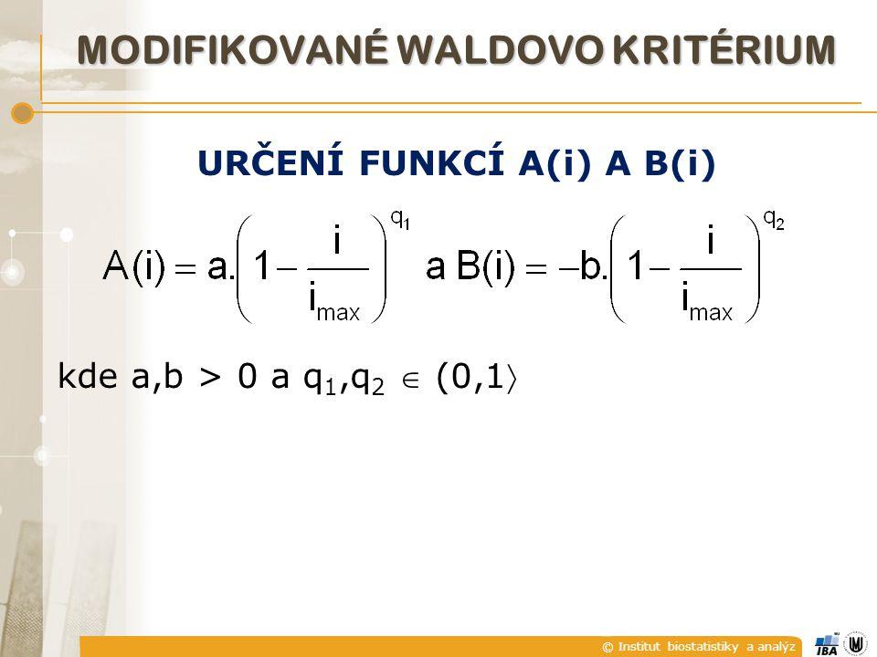 © Institut biostatistiky a analýz MODIFIKOVANÉ WALDOVO KRITÉRIUM URČENÍ FUNKCÍ A(i) A B(i) kde a,b > 0 a q 1,q 2  (0,1