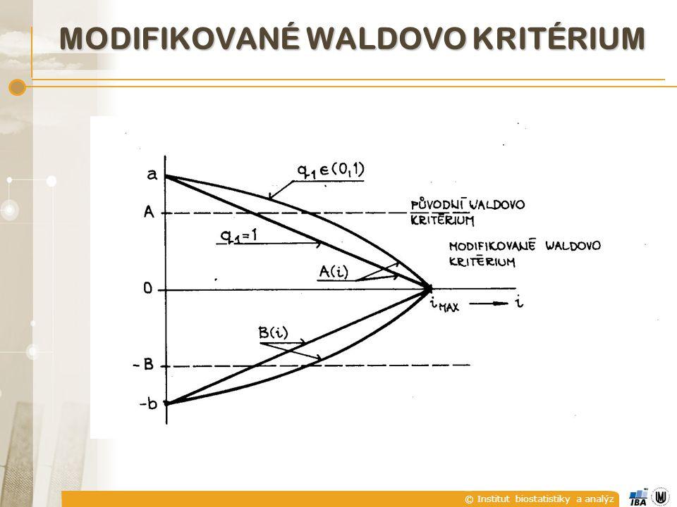 © Institut biostatistiky a analýz MODIFIKOVANÉ WALDOVO KRITÉRIUM