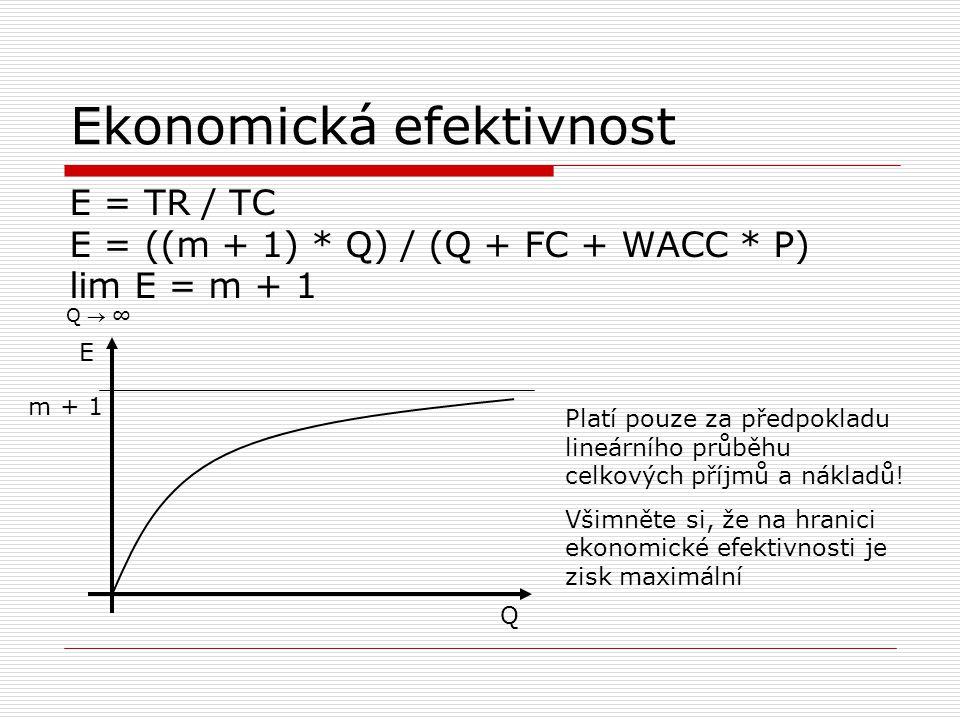 Ekonomická efektivnost E = TR / TC E = ((m + 1) * Q) / (Q + FC + WACC * P) lim E = m + 1 Q  ∞ Q E m + 1 Platí pouze za předpokladu lineárního průběhu
