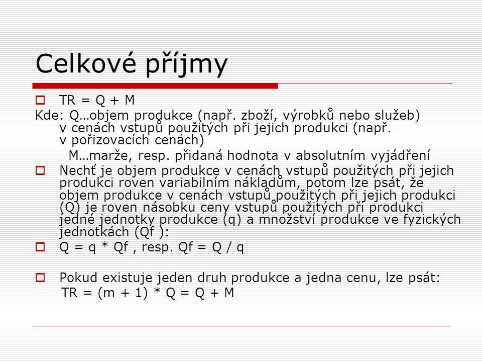 Celkové příjmy  TR = Q + M Kde: Q…objem produkce (např. zboží, výrobků nebo služeb) v cenách vstupů použitých při jejich produkci (např. v pořizovací
