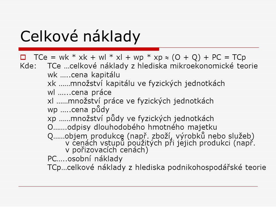 Celkové náklady  TCe = wk * xk + wl * xl + wp * xp  (O + Q) + PC = TCp Kde:TCe …celkové náklady z hlediska mikroekonomické teorie wk …..cena kapitál