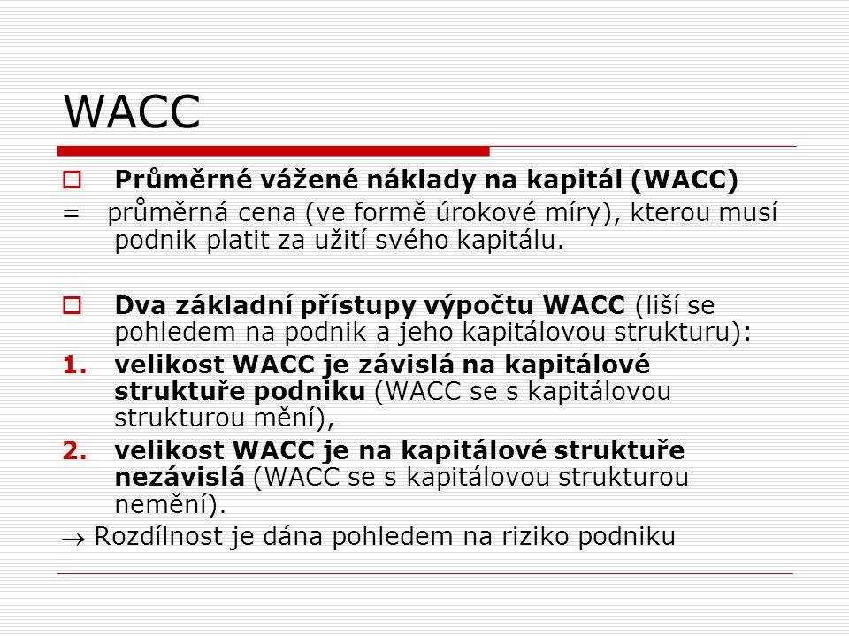 WACC  WACC se s kapitálovou strukturou zpravidla mění  Pokud vyjdeme ze standardního výpočtu WACC:  Pokud mají být oba náklady stejné: re = rd * (1-d)  Pro velikost zisku přitom platí: (1 – d) * (U / CK)  Z / CK (1 – d) * U  Z