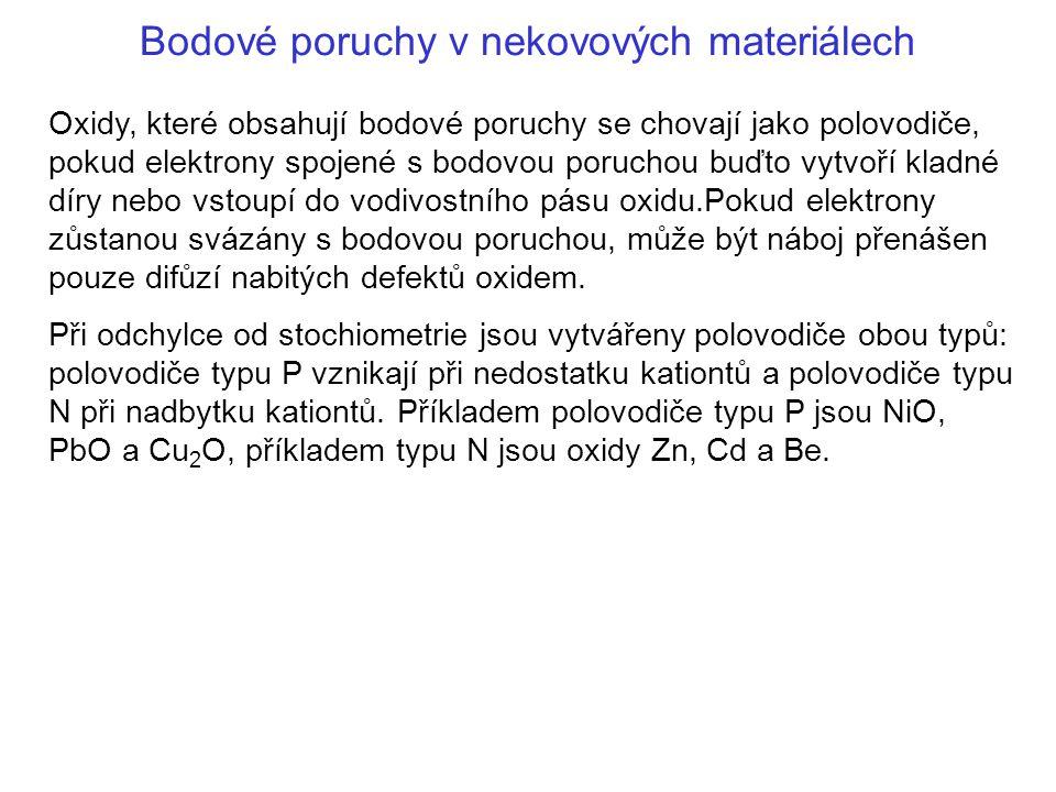 Bodové poruchy v nekovových materiálech Oxidy, které obsahují bodové poruchy se chovají jako polovodiče, pokud elektrony spojené s bodovou poruchou bu