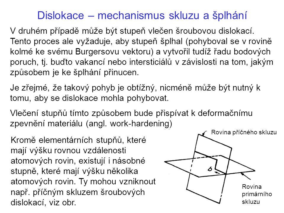 Dislokace – mechanismus skluzu a šplhání Kromě elementárních stupňů, které mají výšku rovnou vzdálenosti atomových rovin, existují i násobné stupně, které mají výšku několika atomových rovin.