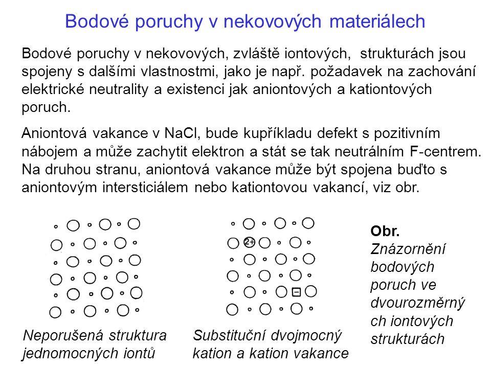 Bodové poruchy v nekovových materiálech Bodové poruchy v nekovových, zvláště iontových, strukturách jsou spojeny s dalšími vlastnostmi, jako je např.