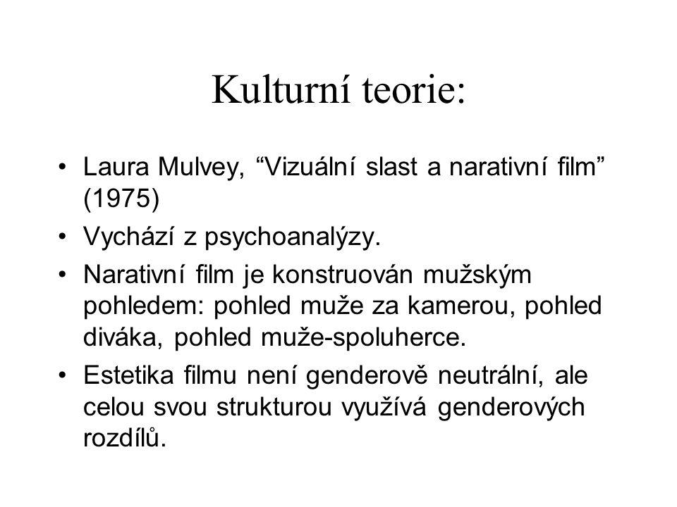 Kulturní teorie: Laura Mulvey, Vizuální slast a narativní film (1975) Vychází z psychoanalýzy.
