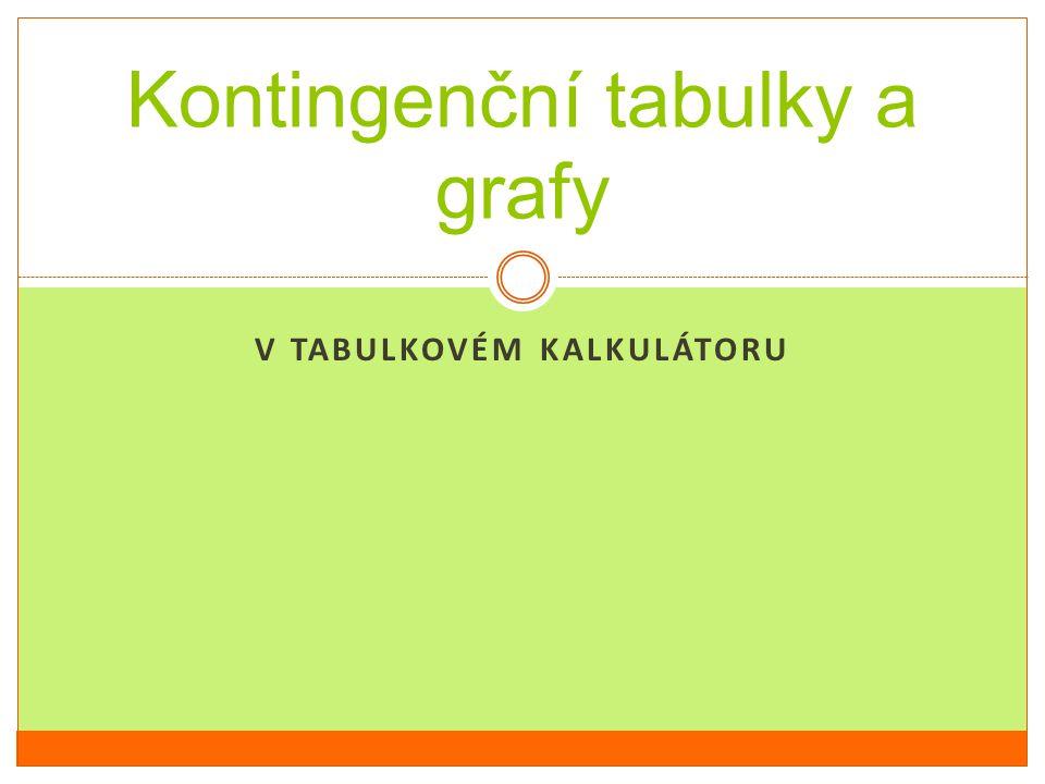V TABULKOVÉM KALKULÁTORU Kontingenční tabulky a grafy