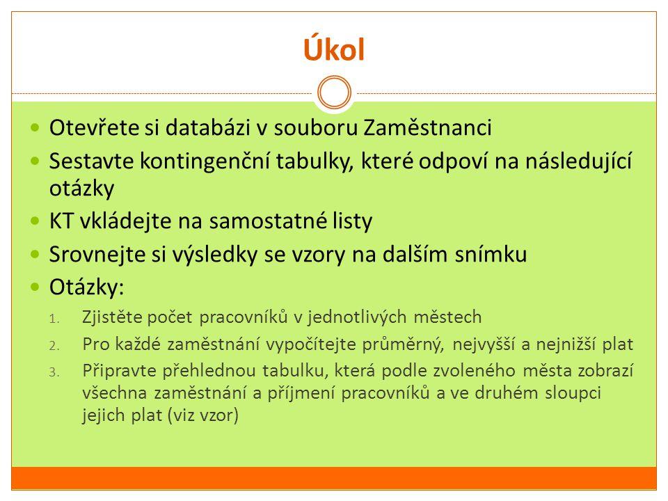 Úkol Otevřete si databázi v souboru Zaměstnanci Sestavte kontingenční tabulky, které odpoví na následující otázky KT vkládejte na samostatné listy Sro