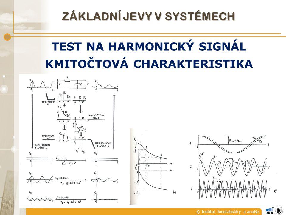 © Institut biostatistiky a analýz ZÁKLADNÍ JEVY V SYSTÉMECH TEST NA HARMONICKÝ SIGNÁL KMITOČTOVÁ CHARAKTERISTIKA