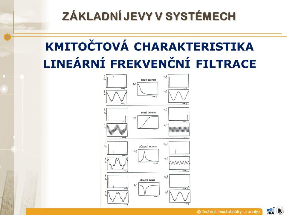 © Institut biostatistiky a analýz ZÁKLADNÍ JEVY V SYSTÉMECH KMITOČTOVÁ CHARAKTERISTIKA LINEÁRNÍ FREKVENČNÍ FILTRACE