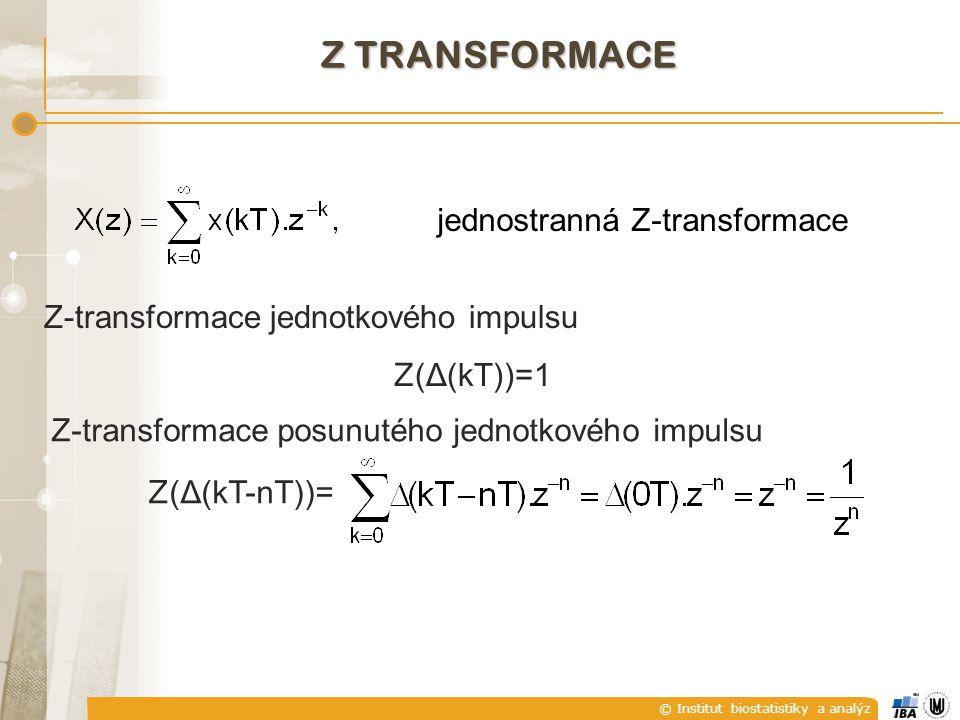 © Institut biostatistiky a analýz Z TRANSFORMACE jednostranná Z-transformace Z-transformace jednotkového impulsu Z (Δ(kT))=1 Z-transformace posunutého jednotkového impulsu Z (Δ(kT-nT))=