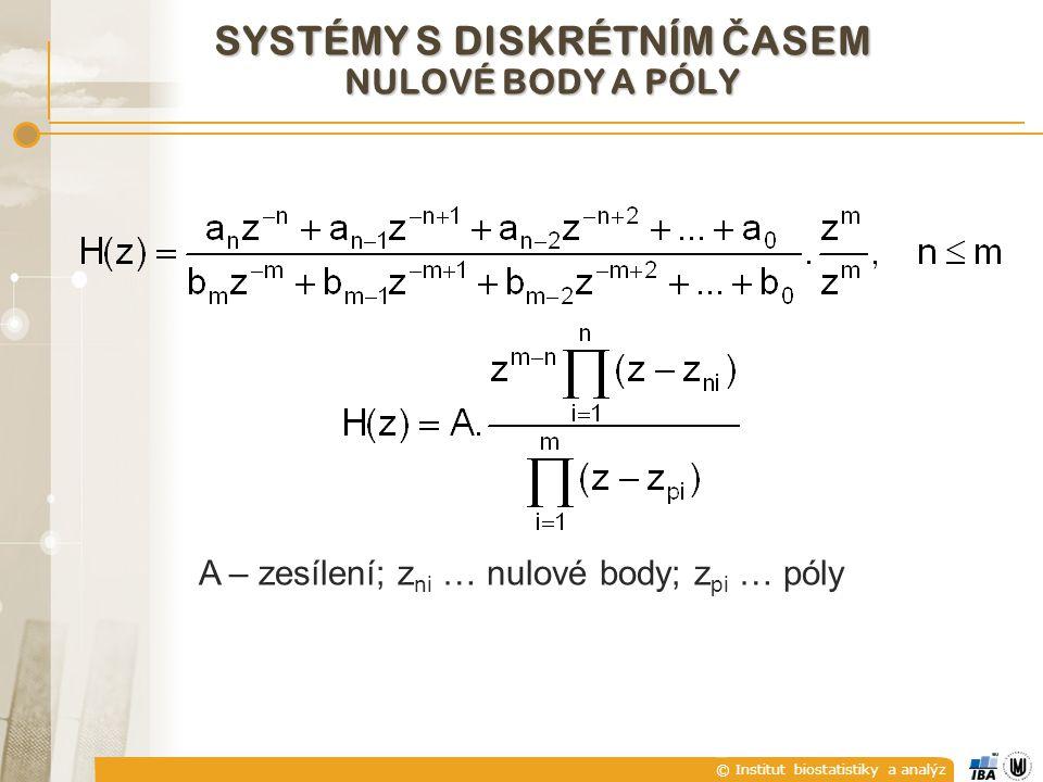 © Institut biostatistiky a analýz SYSTÉMY S DISKRÉTNÍM Č ASEM NULOVÉ BODY A PÓLY A – zesílení; z ni … nulové body; z pi … póly