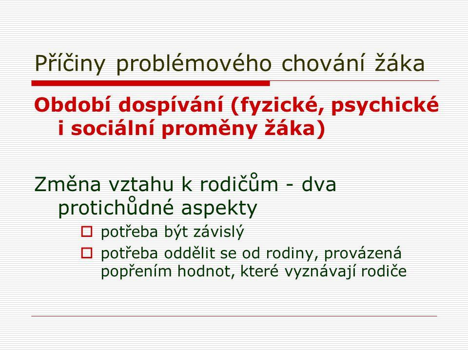 Příčiny problémového chování žáka Období dospívání (fyzické, psychické i sociální proměny žáka) Změna vztahu k rodičům - dva protichůdné aspekty  pot