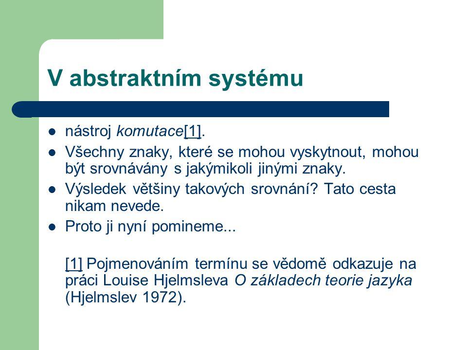 V abstraktním systému nástroj komutace[1].[1] Všechny znaky, které se mohou vyskytnout, mohou být srovnávány s jakýmikoli jinými znaky.