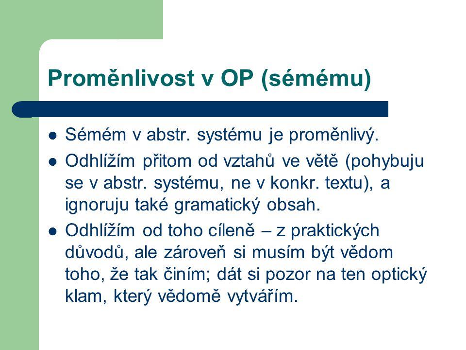 Proměnlivost v OP (sémému) Sémém v abstr. systému je proměnlivý. Odhlížím přitom od vztahů ve větě (pohybuju se v abstr. systému, ne v konkr. textu),