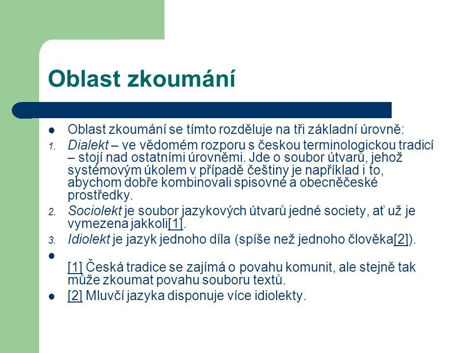 Oblast zkoumání Oblast zkoumání se tímto rozděluje na tři základní úrovně: 1. Dialekt – ve vědomém rozporu s českou terminologickou tradicí – stojí na