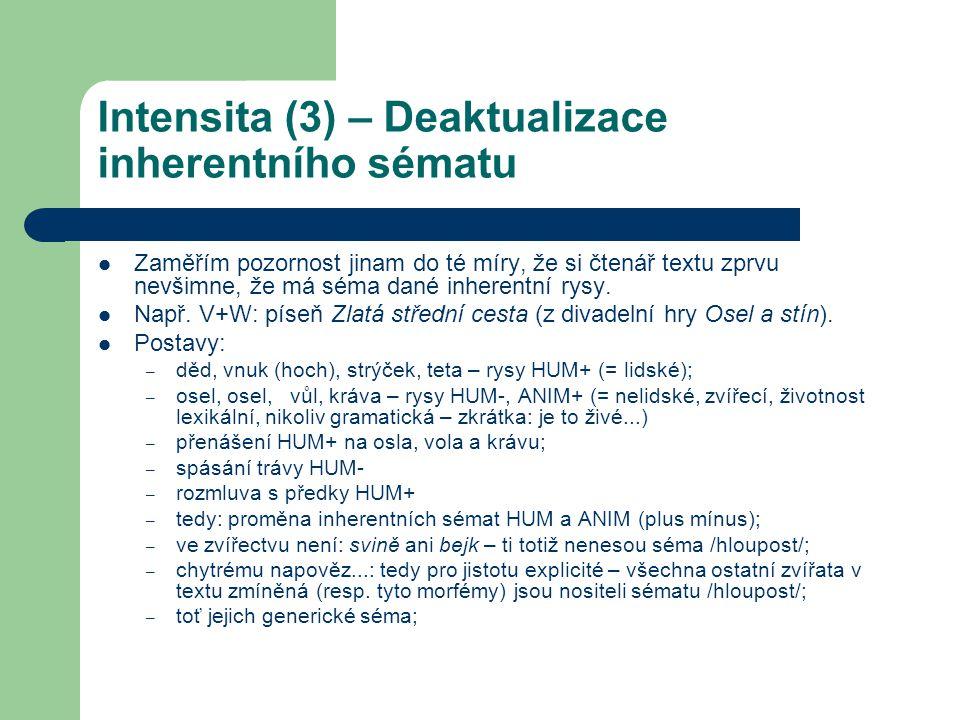 Intensita (3) – Deaktualizace inherentního sématu Zaměřím pozornost jinam do té míry, že si čtenář textu zprvu nevšimne, že má séma dané inherentní ry