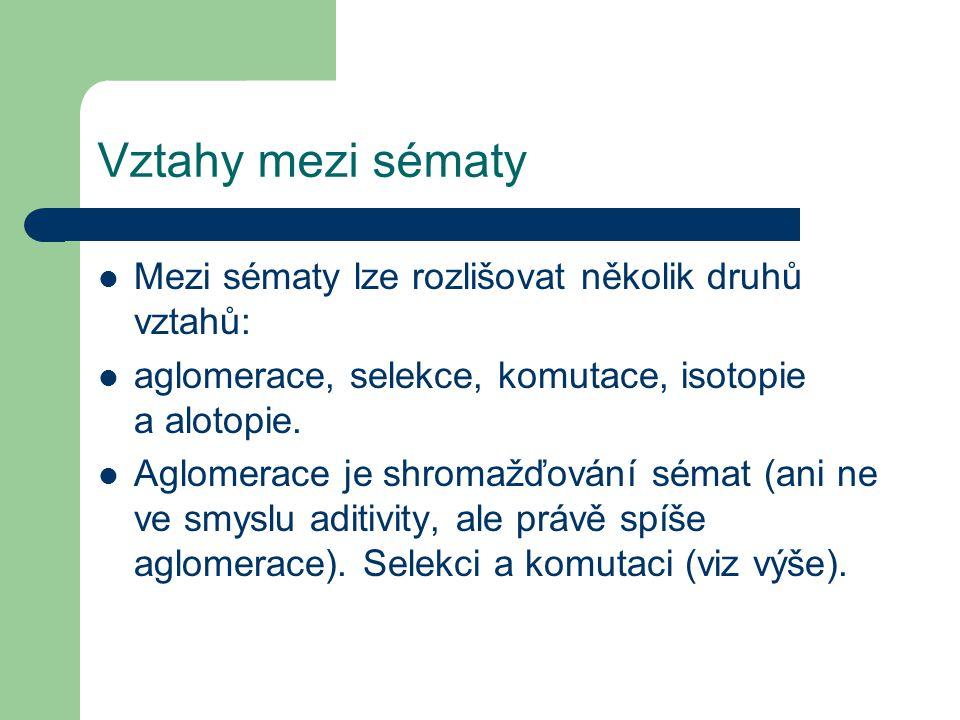 Vztahy mezi sématy Mezi sématy lze rozlišovat několik druhů vztahů: aglomerace, selekce, komutace, isotopie a alotopie. Aglomerace je shromažďování sé