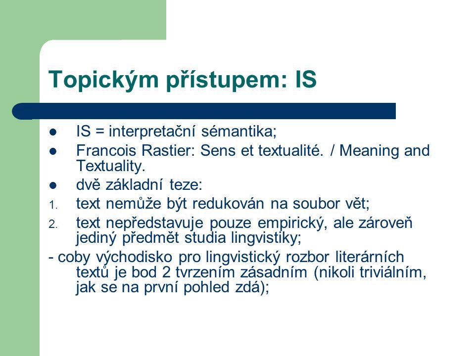 Topickým přístupem: IS IS = interpretační sémantika; Francois Rastier: Sens et textualité. / Meaning and Textuality. dvě základní teze: 1. text nemůže