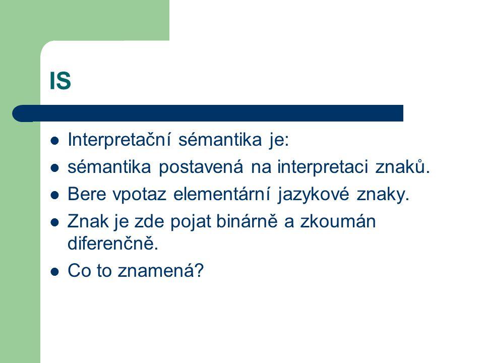IS Interpretační sémantika je: sémantika postavená na interpretaci znaků. Bere vpotaz elementární jazykové znaky. Znak je zde pojat binárně a zkoumán
