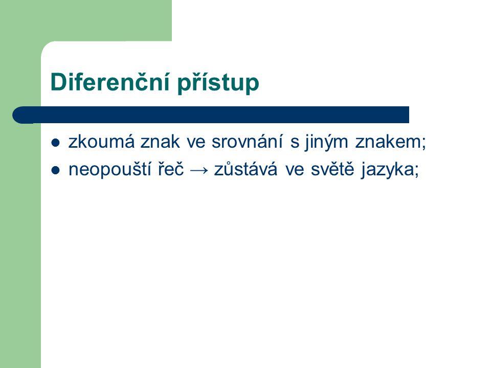 Diferenční přístup zkoumá znak ve srovnání s jiným znakem; neopouští řeč → zůstává ve světě jazyka;