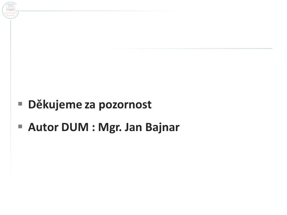  Děkujeme za pozornost  Autor DUM : Mgr. Jan Bajnar