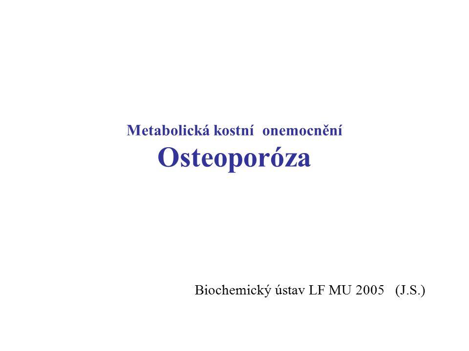 Metabolická kostní onemocnění Osteoporóza Biochemický ústav LF MU 2005 (J.S.)