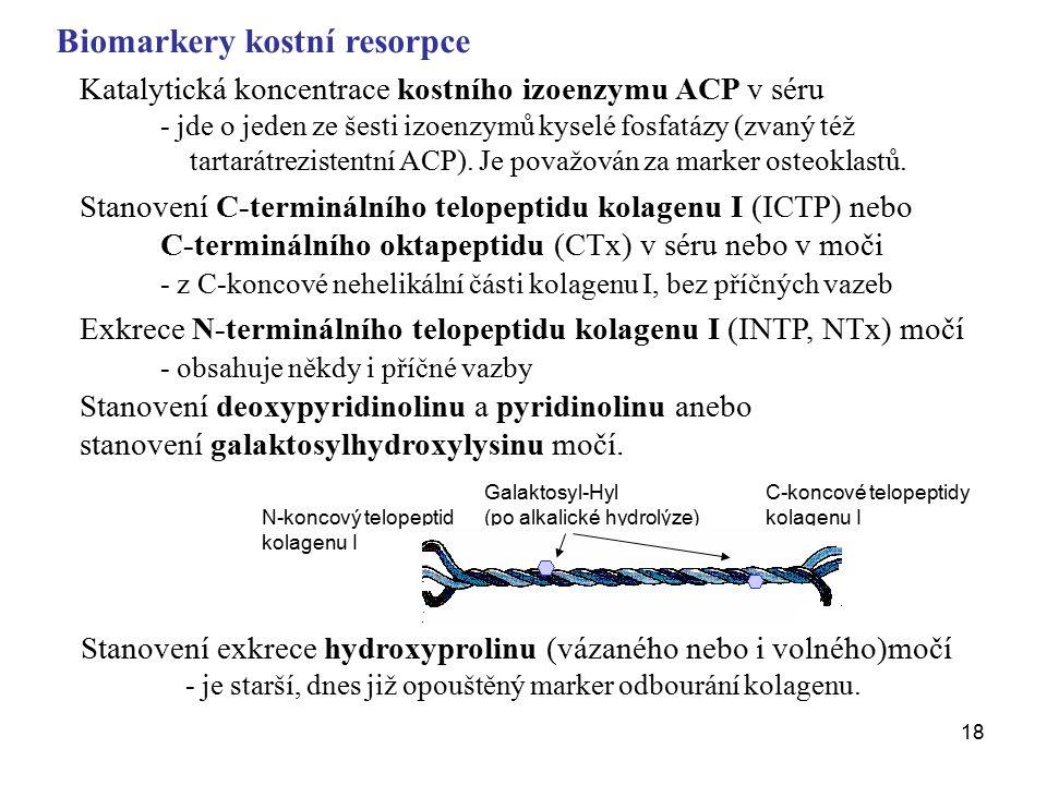 18 Biomarkery kostní resorpce Katalytická koncentrace kostního izoenzymu ACP v séru - jde o jeden ze šesti izoenzymů kyselé fosfatázy (zvaný též tartarátrezistentní ACP).