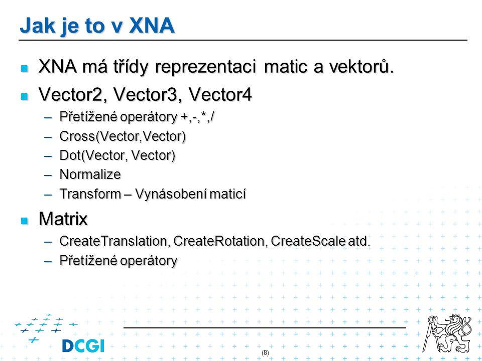Jak je to v XNA XNA má třídy reprezentaci matic a vektorů. XNA má třídy reprezentaci matic a vektorů. Vector2, Vector3, Vector4 Vector2, Vector3, Vect
