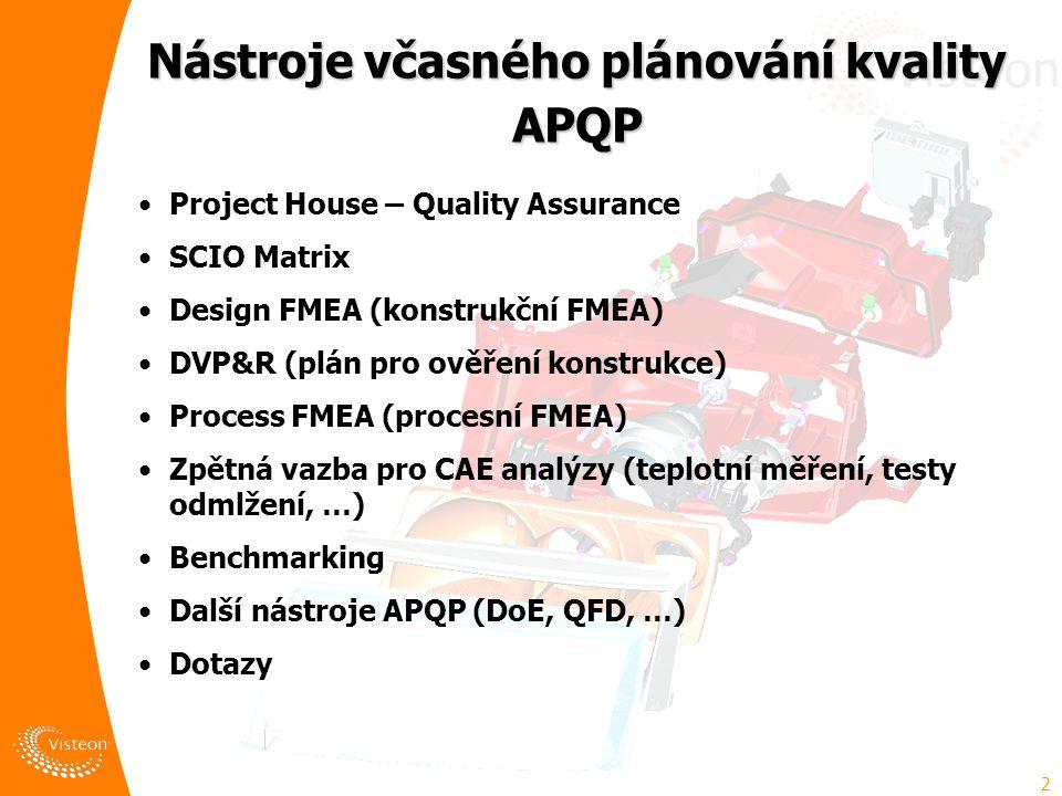 2 Nástroje včasného plánování kvality APQP Project House – Quality Assurance SCIO Matrix Design FMEA (konstrukční FMEA) DVP&R (plán pro ověření konstrukce) Process FMEA (procesní FMEA) Zpětná vazba pro CAE analýzy (teplotní měření, testy odmlžení, …) Benchmarking Další nástroje APQP (DoE, QFD, …) Dotazy