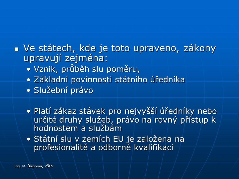 Ing. M. Šlégrová, VŠFS Ve státech, kde je toto upraveno, zákony upravují zejména: Ve státech, kde je toto upraveno, zákony upravují zejména: Vznik, pr