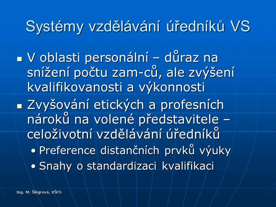 Ing. M. Šlégrová, VŠFS Systémy vzdělávání úředníků VS V oblasti personální – důraz na snížení počtu zam-ců, ale zvýšení kvalifikovanosti a výkonnosti