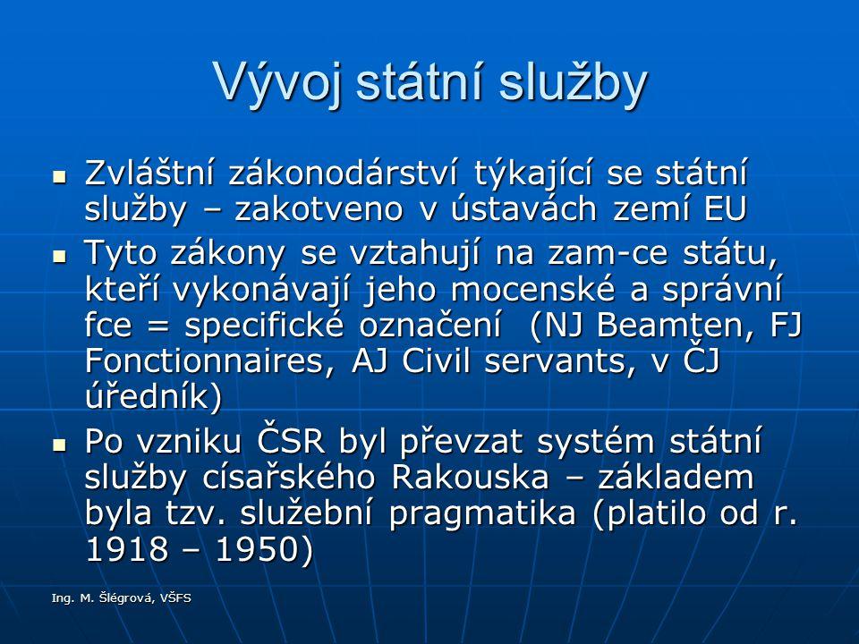 Ing. M. Šlégrová, VŠFS Vývoj státní služby Zvláštní zákonodárství týkající se státní služby – zakotveno v ústavách zemí EU Zvláštní zákonodárství týka