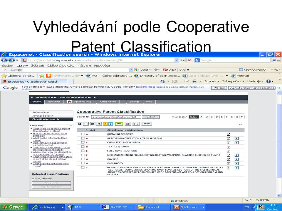Vyhledávání podle Cooperative Patent Classification